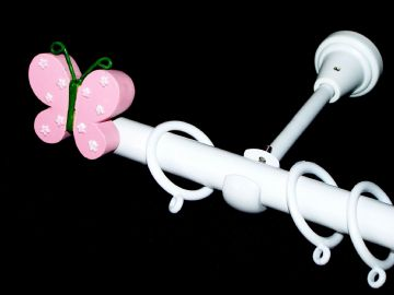 1.2m - 2.1m Designer Extendable Curtain Pole with BUTTERFLY Finials